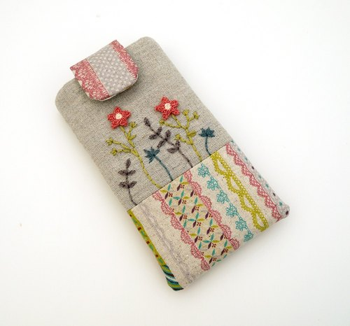 Orange and pink garden embroidered cell phone pocket (M)