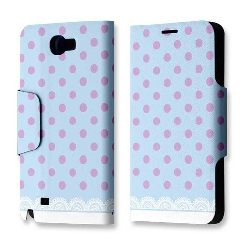 Galaxy Note 2 clamshell leather light blue dots