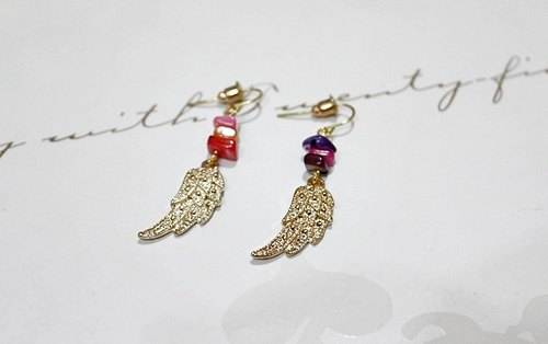 * * Alloy fly wings (one set of X2) _ x-hook combination pin earrings