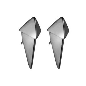 NEW METAL black gold-plated sterling silver double triangle shape earrings