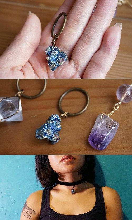 [Worldsmellsdifferent handcraft lab] KEYCHAIN ​​winding series: Blue Plating Druse bronze ring long necklace / CHOKER 2-WAY natural stone purple crystal hand-made TETSUKON CITIZEN