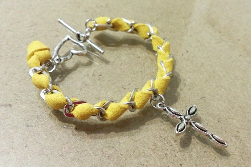 Suede retro bracelet ~ love sweet yellow lemon