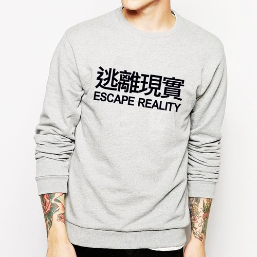ESCAPE REALITY University bristles US cotton T- gray escapism Chinese Wen Qing art design fashion fashionable word
