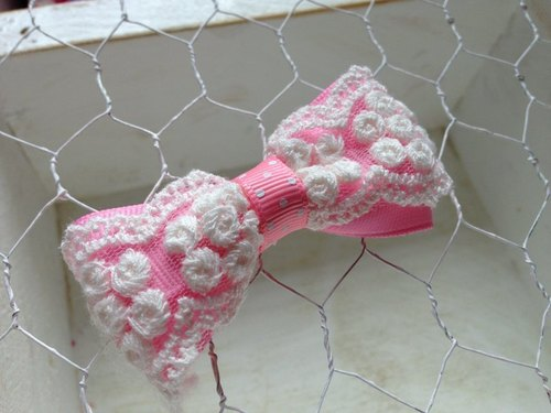 [051503] three-dimensional lace bow (pink) hairpin / tress / hair bands