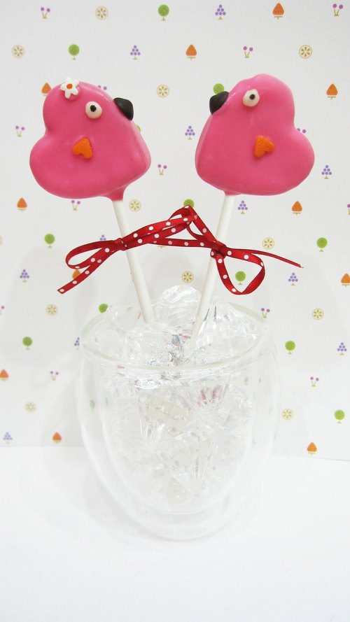 Valentine love birds chocolate cake Cake Pop lollipop six up