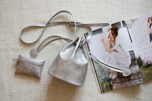 Small bucket bag candy-based dual-beam port (silver)