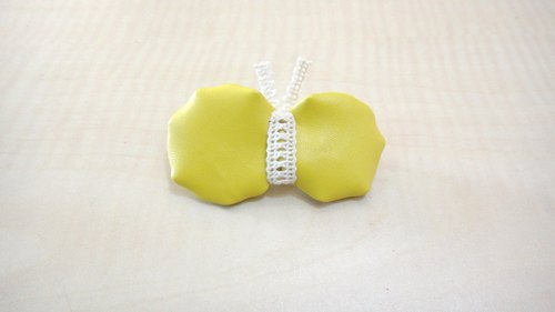 Yellow butterfly hairpin