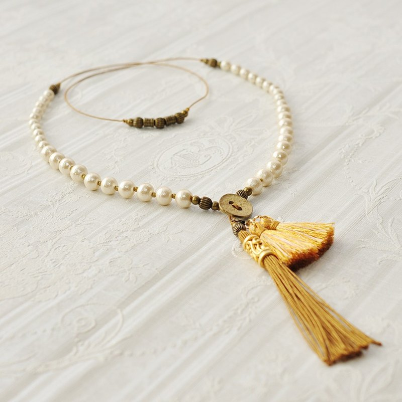 2wayCotton Pearl Tassel Necklace /Shooting star
