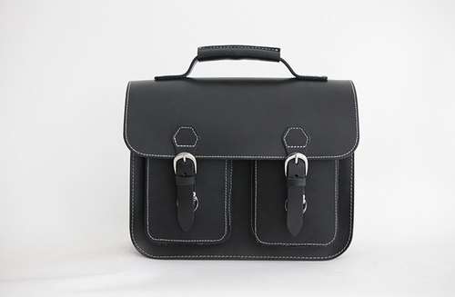 joydivision vintage retro handmade leather bag single laptop backpack bag black briefcase Cambridge