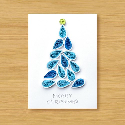 Hand roll card: Christmas tree G (Christmas card, christmas)