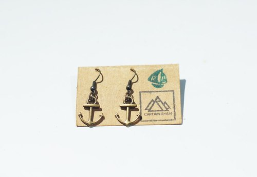 復古青銅小錨耳飾/耳環 Vintage Bronze Tiny Anchor Earrings by Captain Ryan