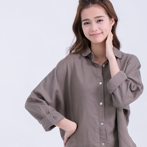 Long sleeve shirt off Cherry / olive green