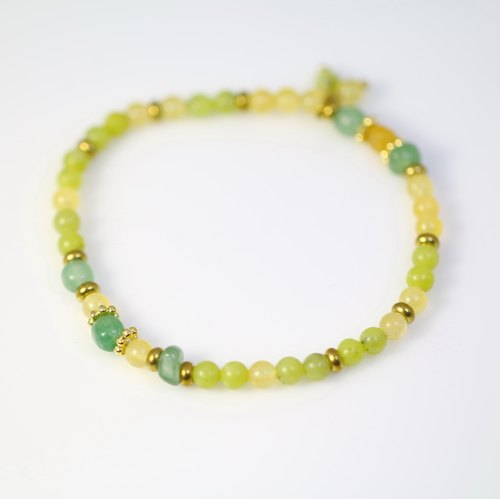 [] ColorDay bright yellow-green jade season ~ DF + topaz + olivine copper bracelet