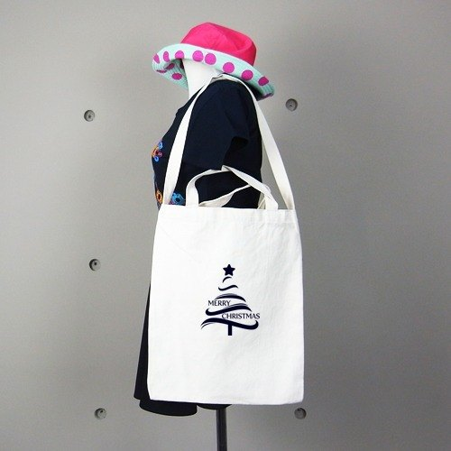 Canvas shoulder bag can long version │Christmas Tree Christmas kuroi-T Design