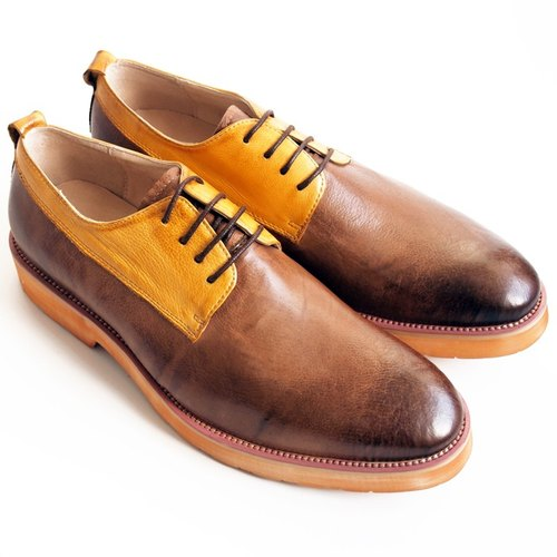 [LMdH] D1A26-89 lightweight hand-painted calf leather Derby shoes thick crust color - yellow with brown - Free Shipping