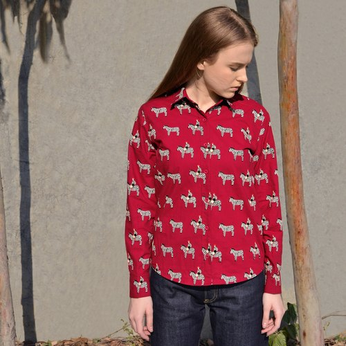Shirt printed long-sleeved shirt female wild cotton shirts YZIISTORE