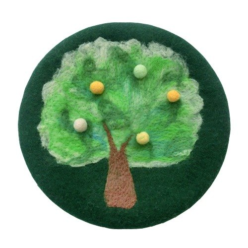 I felt sheep painting style retro tree green beret painter cap