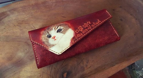 Cute cute chestnut color pure leather wallet - can be engraved name (lover, birthday gift)