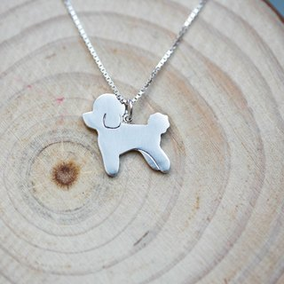 Handmade 925 Sterling Silver - Poodle Toy Poodle Silhouette Clavicle Necklace - Hey! People But A Nobility (Free Lettering)