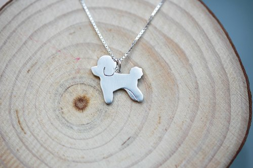 Handmade 925 sterling silver [Poodle toy poodle silhouette necklace clavicle ~ hum] but he is a noble (free engraving)