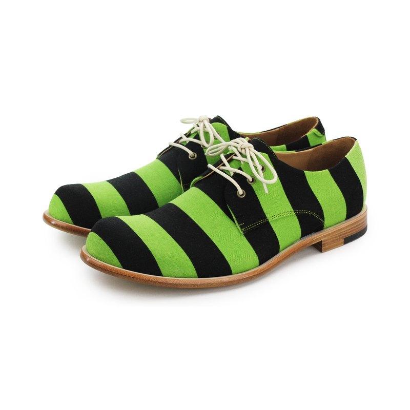 Sweet Villians M1126A 手工真皮線條男德比鞋 綠黑條紋