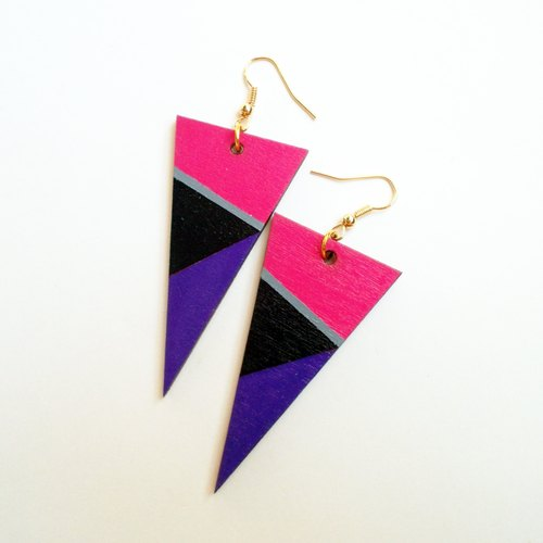 Color hand-painted wooden blocks Triangle earrings