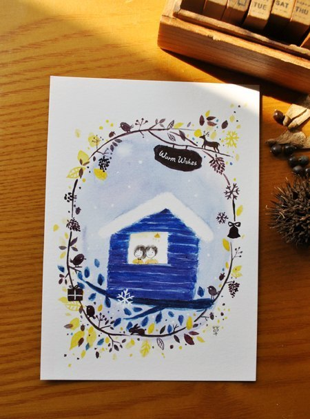 Warmwish winter cottage postcard