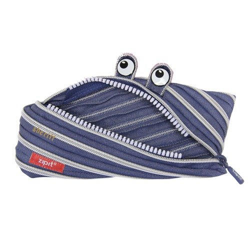 Zipit cowboy monster zipper bag (in) - blue and white striped