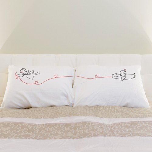 """Wind Beneath My Wings"" Boy Meets Girl couple pillowcase by Human Touch"