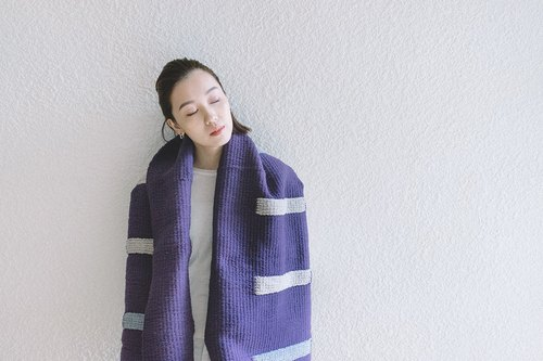 ISLANDS / Oversized Hand Loomed Scarf - Grape
