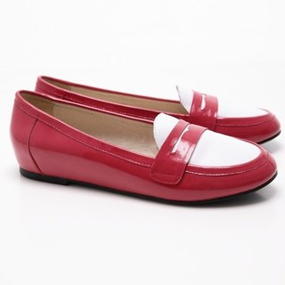 [Saint Landry] LAND patent leather stitching design flats (pink)