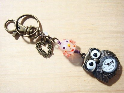 Grapefruit forest handmade glass - pocket keychain (Owl modeling) - like - Glow