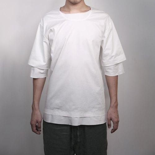 Hong Kong's independent creative brand Numb Workshop Men Double Layer Tee WHITE