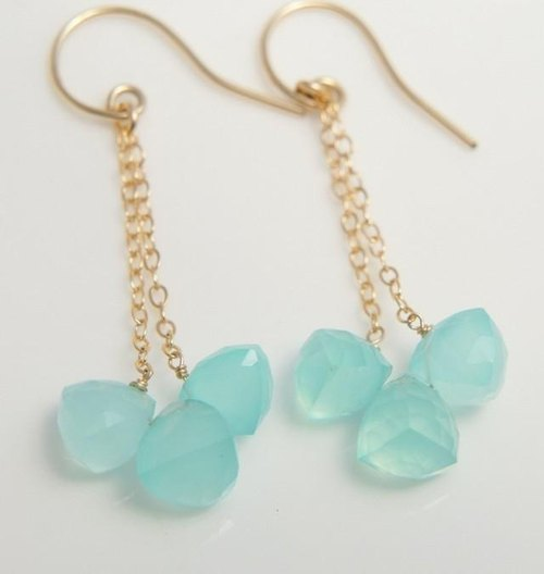 Blue chalcedony trefoil of Long earrings 14KGF