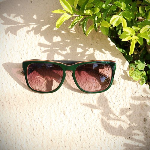 [Myth] spell dark gray-green translucent orange color frame temples gray-green gradient lens sunglasses sunglasses block plate hand-made Asian applicable
