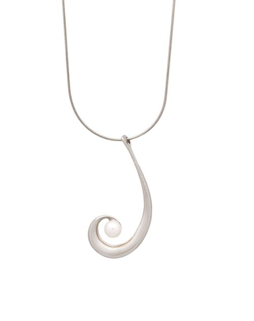 White steel necklaces - pearl Series - Hyun Vortex Swirl | 8AA00226