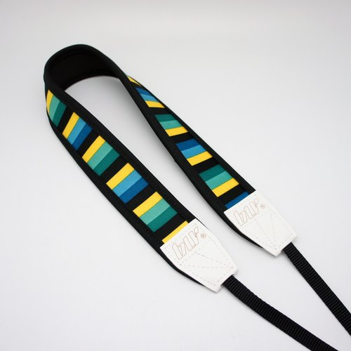 BLR Handmade Reduce stress Camera strap [ Green & Yellow Line ]