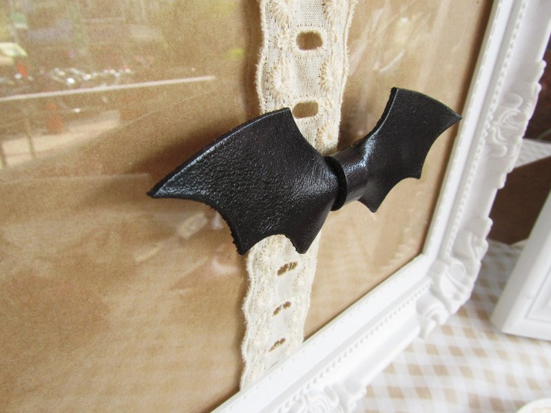 Leather Bat bow hair clip - Gothic Halloween