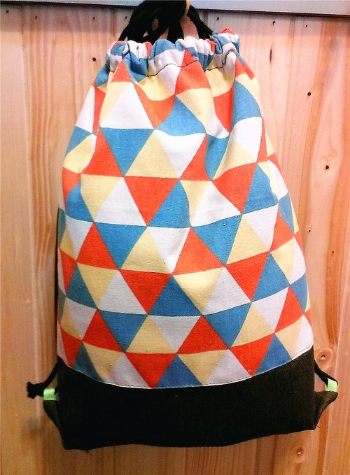 Skilled cat cat [x] after the beam port city Backpack Nordic triangle geometric black cotton denim bottom ((New Year Offer 95% off))