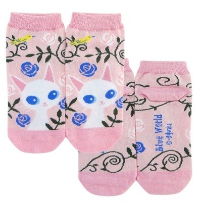 BLUE WORLD, Japan Blue Cat peony socks _Pink (BW1408301)