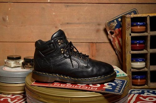 Vintage British black 6-hole Dr. Martens work boots