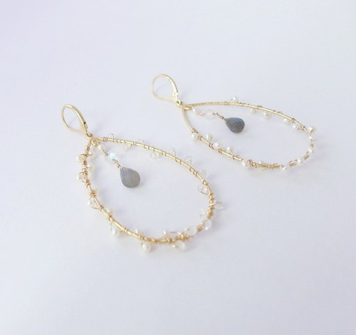 | Touch Moonlight | Moonlight woven bag k gold earrings asymmetric ornate style