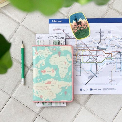Dessin x Indigo-indimap world map Leather Passport Cover - Green swimming, IDG06594