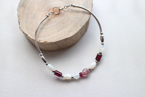 Fuchia ~ sweet fruit - strawberry crystal / garnet / shell / silver bracelet