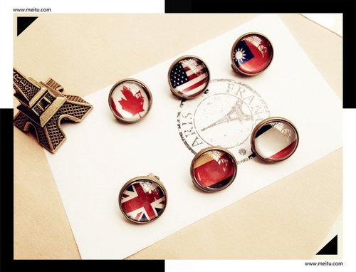 [Simple] retro flag earrings