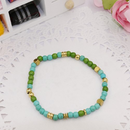 * Poof Princess sugar - simple pure brass stone beads bracelet C