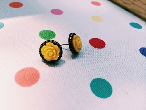 """Earrings"" Retro Little Rose - Yellow"