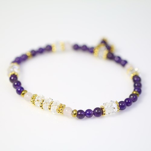 [] ColorDay bright purple season ~ + white crystal amethyst bracelet