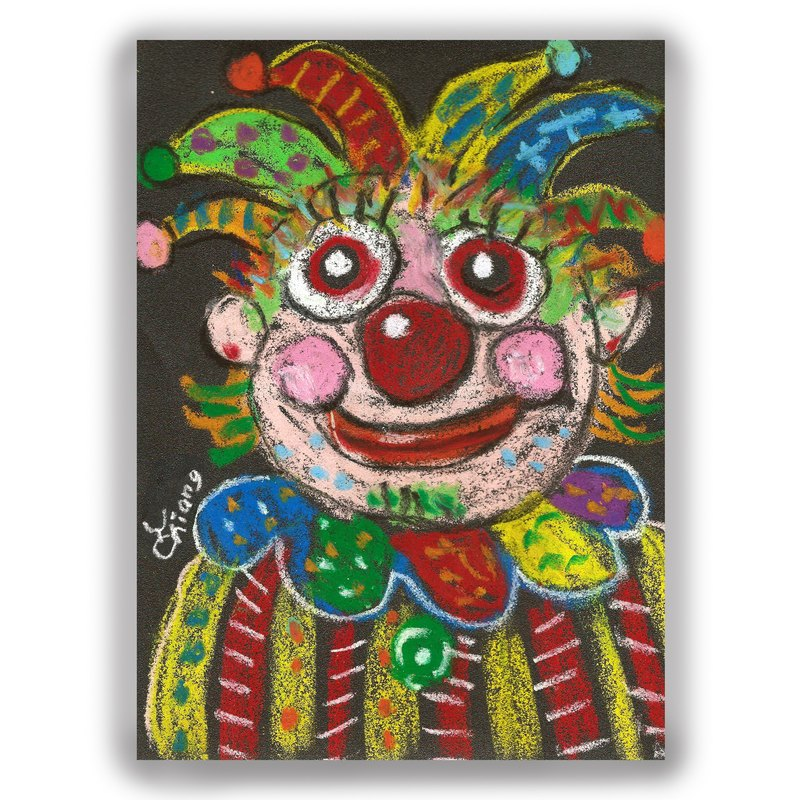 Hand-painted illustration universal card / postcard / card / illustration card - clown B