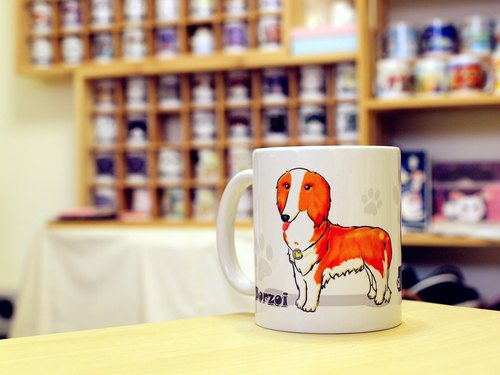 """NONCOOL‧ Cool farming"" Borzoi. Mug / straight cup (300ml)"